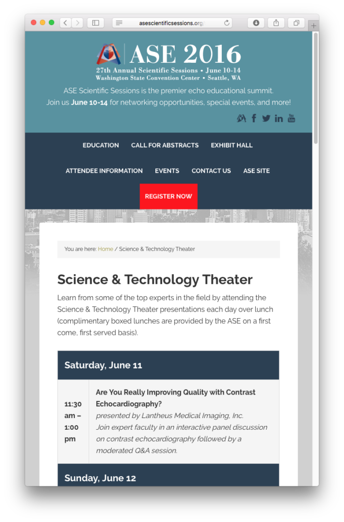 ASE Scientific Sessions Page on Mobile