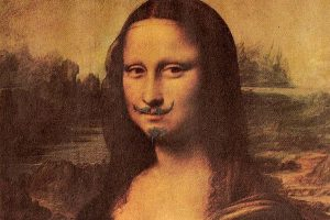 Close-up image of Marcel Duchamp's artwork, L.H.O.O.Q.